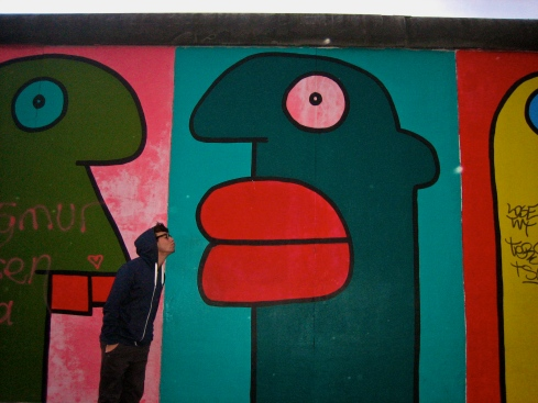 Kissin' old Big Lips at the Berlin Wall East Side Gallery