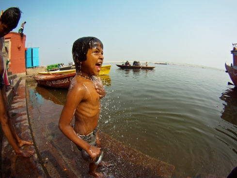 Bathing along the Ganga in Varanasi.